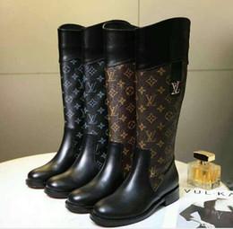 2019 damas de alta calidad botas altas de tacón alto salvaje 15 pulgadas botas de lujo de primera capa de material de cuero de vaca de la mujer zapatos casuales marca original desde fabricantes