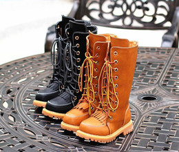 Wholesale Zip Ties Black - 2017 autumn and winter children's knight boots girls tall cotton boots fringed retro boots plus velvet children's shoes