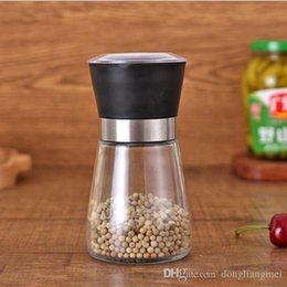 condiments container Coupons - Salt and Pepper mill grinder Glass Pepper grinder Shaker Spice Salt Container Condiment Jar Holder grinding bottles WN480 100PC