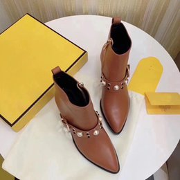 Wholesale Embellished Boots - 2018 New Arrivals fall Women's Genuine Leather Designer Pearl Jewelry Brand Embellished Short Motorcycle Boots Size 35-40