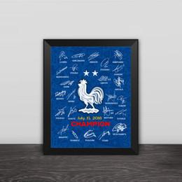 2018 Dos estrellas Francia Campeón Mundial de fútbol Equipo Autógrafo Cartel de madera Cuadro Marco de fotos de pared Foto Mbappe Fans de fútbol Recuerdo desde fabricantes