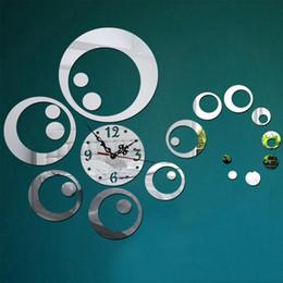 Wholesale Wall Decals Circles - Wholesale- Fashion Circles 3D Modern Mirror Wall Clock Watches Sticker Decal Home DIY Decor relogio parede reloj de pared p20