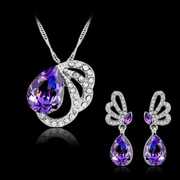 2019 joyas de swarovski Conjunto de joyas de dama de honor pendientes Collar colgantes Swarovski joyería de cristal australiana Conjunto de joyería india de moda africana Conjunto de joyas de fiesta rebajas joyas de swarovski