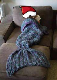 Crochet blu sirena online-Blue Mermaid Throw Blanket Handmade Mermaid Tail Coperta per bambino adulto Multi Soft Crochet Ultimi pezzi