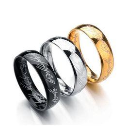 3 cores Titanium O Hobbit Senhor dos Anéis anel de dedo 6mm 18 k prata ouro preto Anéis Mágicos para as mulheres homens filme jóias 080095 de