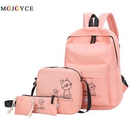 002575e551 4pcs Set Cute Cartoon Cats Printed Women Backpacks Students School Backpacks  Shoulder Travel Rucksack