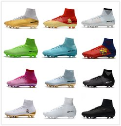 Wholesale Kids Lace Boots - 2018 cr7 Quinto Triunfo kids football boots youth boys soccer cleats mercurial superfly turf soccer shoes mens womens high top neymar boots