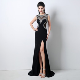 Wholesale Long Chiffon Slip - Real Image 2018 Crystals Chiffon Evening Dresses Rhinestones Bridal Guest Pageant Dress Formal Party Gowns Front Slip Prom Dresses Long