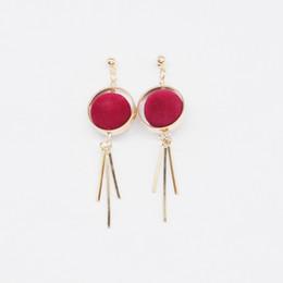 Wholesale long metal wholesale fashion earrings - Sykesha Round Velvet Ball Tassel Stud Earrings Fashion Women Elegant Charm Earring Long Stud Earrings with Metal Bars