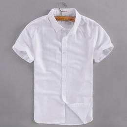 2019 pantaloncini bianchi bianchi per gli uomini 2017 Estate nuovo business casual camicia di lino uomo cotone manica corta bianco uomo camicia marchio di abbigliamento uomo camicie camisa masculina pantaloncini bianchi bianchi per gli uomini economici