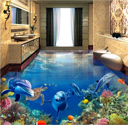 Wholesale floor tiles wood - desktop wallpaper wood Dolphin Sea Turtle Underwater World 3D stereo bathroom floor tile floor painting