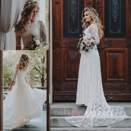 Wholesale Vintage French Lace Wedding Dress - White Greek French Lace Sash Ribbon Wedding Dresses with Sleeves 2018 Modest Destination Full length Country Garden Vintage Bridal Dress
