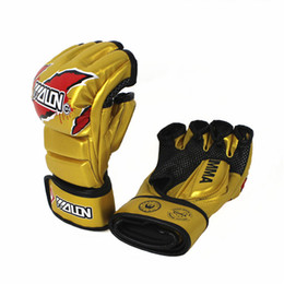 Wholesale High Gear Training - taekwondo training glove boxing fighting gloves sprring foam paded UFC combat gold color mma glove high quality