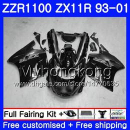 2019 1998 zx11 fairing Corpo para KAWASAKI NINJA ZX 11R ZX11R 93 98 99 00 01 206HM.38 ZZR 1100 ZX11 R ZZR1100 ZX-11R 1993 1998 1999 2000 2001 Faixas pretas brilhantes 1998 zx11 fairing barato