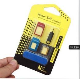Canada détail 5 en 1 métal Nano Carte SIM / Carte Micro SIM / Adaptateur adaptateur convertisseur standard pour iPhone 76/5 / 4S / 4 cellules avec broche d'éjection Offre
