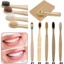 2019 escovas de fibra Ambientalmente Madeira Rainbow Toothbrush ToothBrush Bambu Fibra De Bambu Lidar Com Escova De Dentes De Madeira Branqueamento Rainbow Preto 6 Cores desconto escovas de fibra
