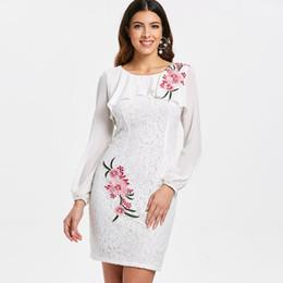 583988239c3 stickerei bleistift kleid Rabatt PANJOINER 2018 Weiße Spitze Frauen Bleistift  Kleid Plus Größe XXL Chiffon Stickerei