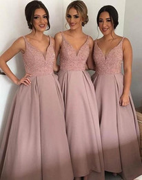 Wholesale Cheap Hi Tops - Blush Cheap Country Bridesmaid Dresses Best V Neck Top Beaded Satin Bohemian Evening Dresses Hi Low Backless Prom Gowns Maid Of Honor Dress