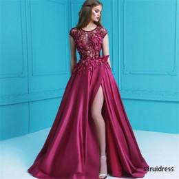 Canada Mancherons perles 3D pétales appliques robes de soirée Split une ligne longues robes de bal dentelle Satin parole longueur robes de soirée Offre