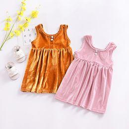 Everweekend da criança do bebê meninas em veludo vestido babados doces cor de rosa orange primavera verão bonito crianças moda dress de