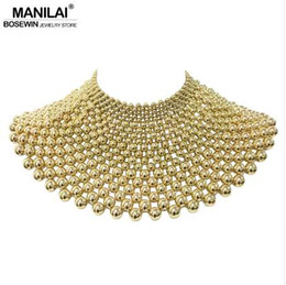 Wholesale maxi dresses china - MANILAI Brand Indian Jewelry Handmade Beaded Statement Necklaces For Women Collar Beads Choker Maxi Necklace Wedding Dress