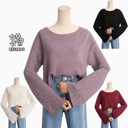 Fashion casual ladies blouse Round collar Knitted sweater Winter Spring  Keep warm Women Sweaters Long Sleeve Scoop Neck Women Knits  Tees B2 81c713167
