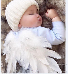 Wholesale baby feather set - Baby Angel Wing + rhinestone elastic headband Photography Props Set newborn Pretty Angel Fairy white feathers Costume Photo headband BHB37