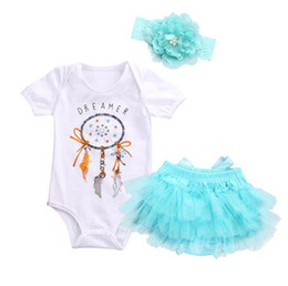 Wholesale Black Baby Onesies - 2018 Baby Rompers Clothing Sets Girls Toddler White Romper Skirts Headbands 3Pcs Set Summer Short Sleeve Infant Onesies Clothes Outfits