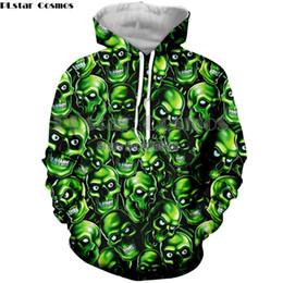 New Fashion Hoodies Coats green skull Print Style Hombres / Mujeres 3d Sudaderas con capucha Sudadera con capucha Casual Hip hop Chándales desde fabricantes