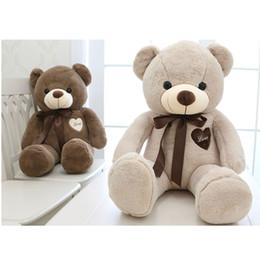 Wholesale large plush teddy - 80cm 100cm large teddy bear plush toy cute huge stuffed soft bear wear bowknot bear kids toy birthday gift for girlfriend