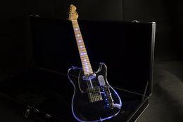 2019 guitare électrique oem st Corps en acrylique acrylique corps acrylique manche en érable bleu led tele guitare électrique Guitarra