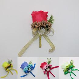 Wholesale bouquet boutonniere - 65 Pcs Handmade Prom Boutonnieres Pin Rose Artificial Flowers Best Man Groom Groomsman Corsage Flower Wedding Bouquet Decoration