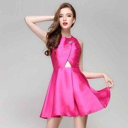 Корейское сексуальное вечернее платье онлайн-Rose Red Bridesmaid Dress Короткие Комбинезоны Корейского Стиля Спинки Роскошные Сексуальные Винтажные Платья Партии Bubble Night Party