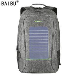 Wholesale Nylon Notebook - BAIBU Men Backpack Fashion Waterproof Laptop Backpack Solar Powered Backpack Usb Charging Anti-Theft Notebook Bag For Teenagers