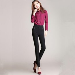 Primavera Otoño Europa Rusia Mujeres Elástico de cintura alta de mezclilla  Jeans Paneled Señora Casual Slim pantalones negros Big Lmitation Pants  cintura ... 220b6eb045cb
