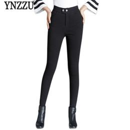Wholesale Elegant High Waist Trousers - Plus Size Winter Women Down Pants Trousers 2017 New Elegant Black High Waist Slim Thick Warm Duck Down Pants skinny AB021