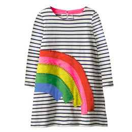 Wholesale dresses winter for girls - Spring Autumn Girls Unicorn Applique Clothing Cotton Baby Casual Long sleeve Dress Cartoon Flowers Printed Dresses for Kids