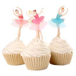 ballerina zubehör mädchen Rabatt Anmutiger Ballerina-Kuchen-Deckel-Tänzer-Kuchen-Deckel-Kuchen-Zusatz-Mädchen-Geburtstags-Party liefert 120pcs / lot Freies Verschiffen