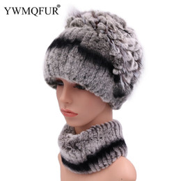 white rabbit fur scarves Promo Codes - 100% Real Rex Rabbit Fur Hat Neck Scarf Sets For Women Casual Female Caps Scarves With Vintage Warm Fox Fur 2018 New Arrival