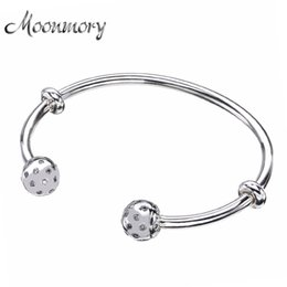 Wholesale Sterling Silver Screw Beads - whole saleMoonmory Fashion Open Bangle with Screw Caps Original 925 Sterling Silver bead Bracelet with Clear Zircon For Woman Diy Jewelry
