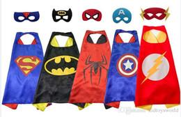 Capas super-heróis para crianças on-line-2018 crianças super hero capes 1 cabo + 1 chrismas Masker presente crianças menino supe rhero spider rman vader super hero capa máscara frete grátis