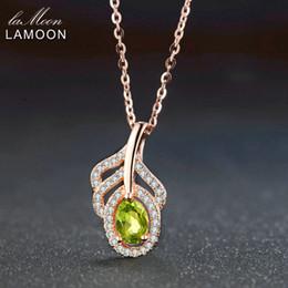 136576bd5ddb LAMOON Classic Leaf 100% Natural Óvalo Verde Peridot Collar de Cadena 925  Joyas de Plata LMNI058