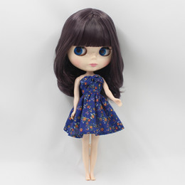 Wholesale Plastic Souvenirs - Wholesale-Free shipping icy factory blyth doll bjd neo dark purplr hair BL9219 with fringes bangs normal body 30cm 1 6 gift souvenir