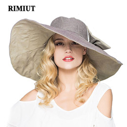 Wholesale Summer Womens Foldable Hats - RIMIUT 2017 Fashion large brimmed sun hats Foldable womens sunhats Self-tie Bow women's hat Summer Beach Floppy Cap Headwear