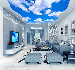 Wholesale ceiling insulation - Blue Sky White Cloud Wallpaper Mural Living Room Bedroom Roof Ceiling 3d Wallpaper Ceiling Large Starry Sky Wallpaper