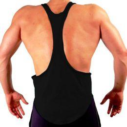 Wholesale low cut tanks xl - Brand 2017 tank top men vest solid bodybuilding shirts mens singlet fitness deep low cut sportswear running vests
