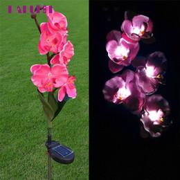 2019 luzes de orquídea 5 cabeça solar levou luzes decorativas ao ar livre lâmpada de gramado 5 cabeça de flor de orquídea de borboleta solar l70630 desconto luzes de orquídea