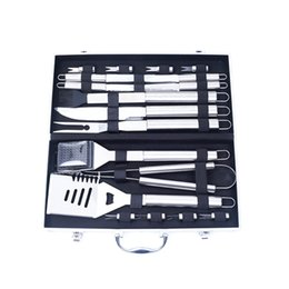 Wholesale Bbq Tool Storage - 18 Pieces 1 Set BBQ Set Tools Oudoor Stainless-Steel Barbecue with Storage Case Fork Tongs Basting Brush Kewers