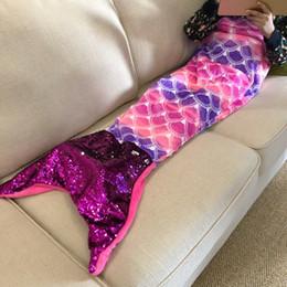 Couverture de queue en Ligne-Couverture de sirène couverture à la main Magical queue de paillette couverture pour enfants tricoté Wrap Sleeping Multi Couleurs Doux Jetez Lit MMA1418