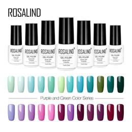 Capa superior de la uña verde online-ROSALIND 7ML Colores púrpura y verde UV Esmalte de uñas Colorido puro Necesidad de alta calidad Base Base Capa Esmalte en gel para uñas